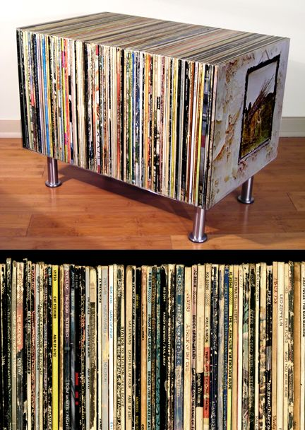 Great use of vinyl record cases! Just glue them together and put some legs on - voila - a cool table :)