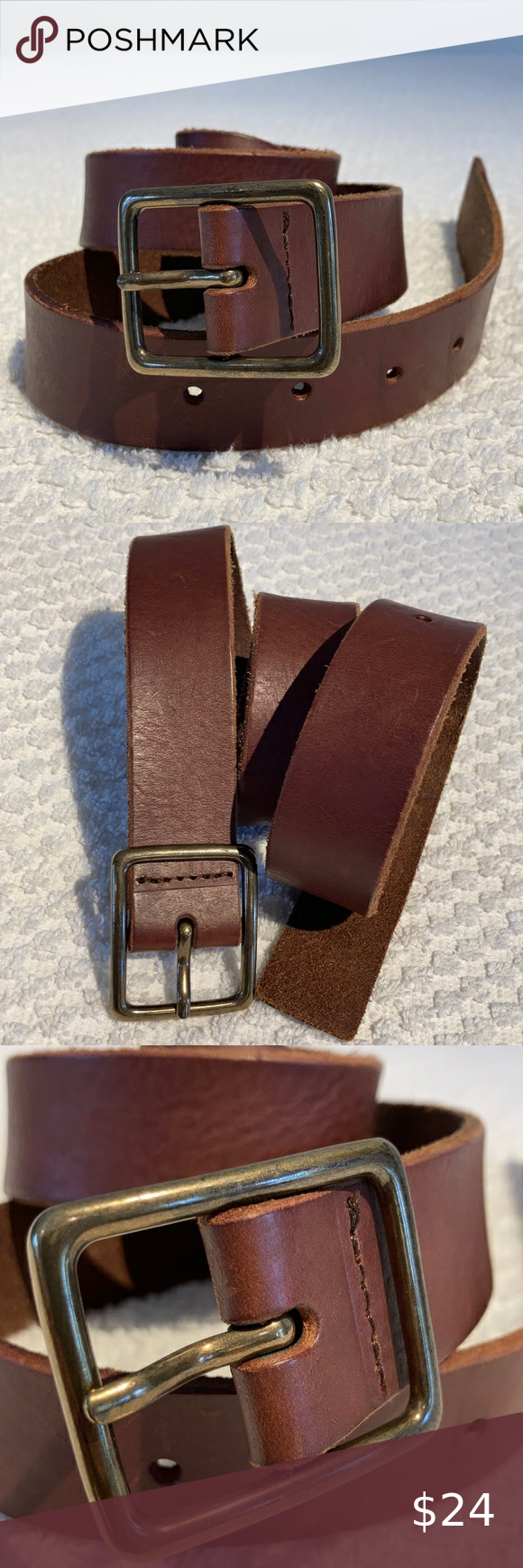"""Gap leather belt caramel brown size xs Supple leather belt Buckle color: antique brass Measurements as shown First hole is at 29,1/2"""" every inch up to 33,1/2"""" Fait rubbing on leather as shown This belt is in excellent preloved condition with very little wear Reasonable offer welcome GAP Accessories Belts"""