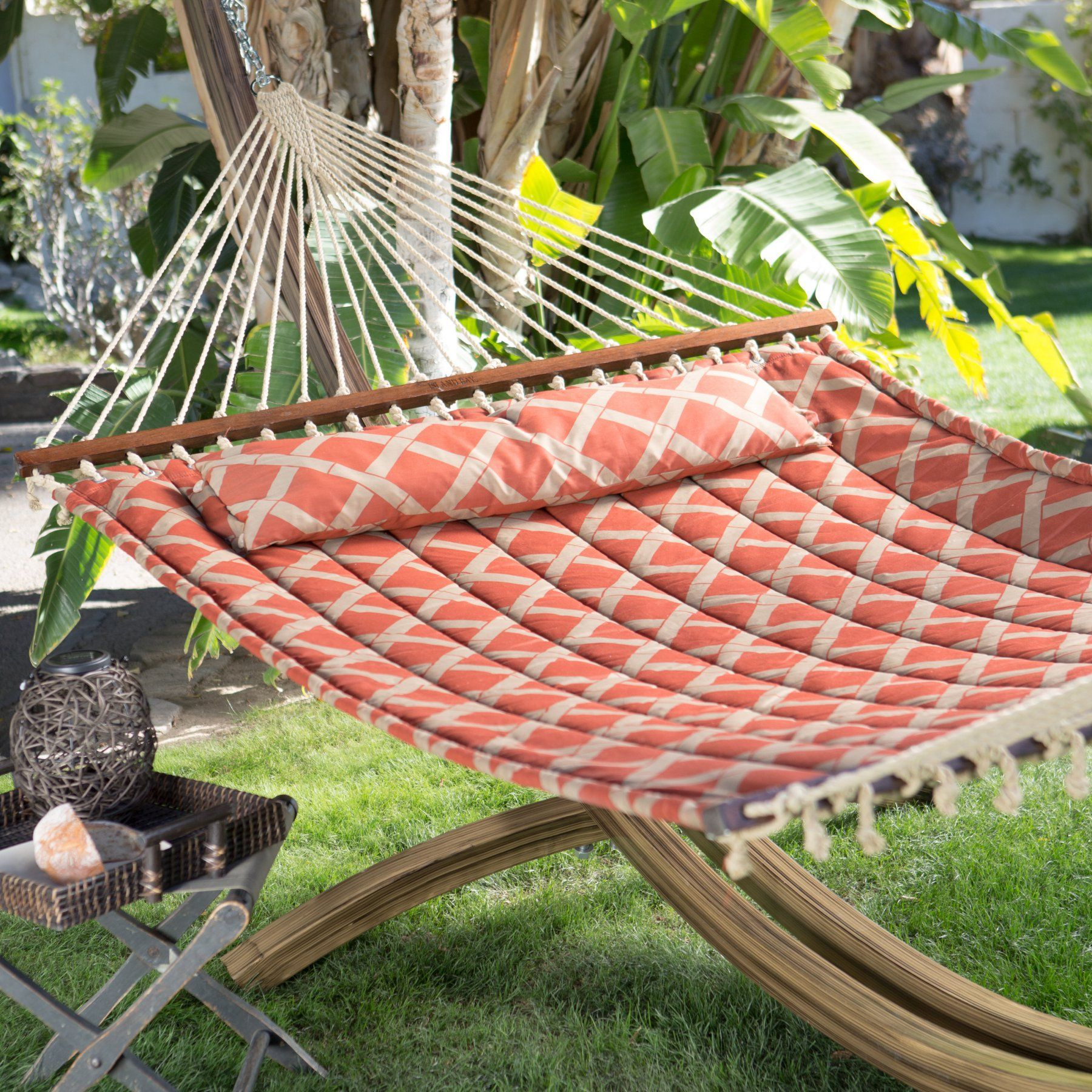 Island bay ft tuscan lattice quilted hammock with faux woodgrain