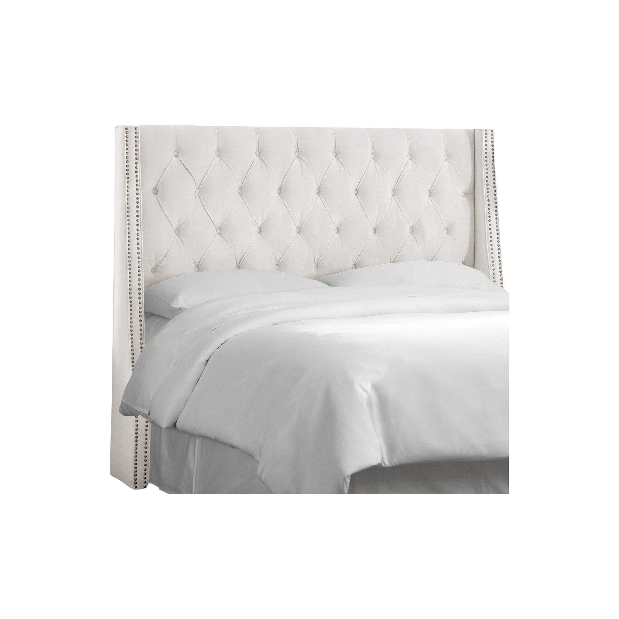 white itm wingback cupboard ebay headboard tufted in skyline velvet furniture diamond