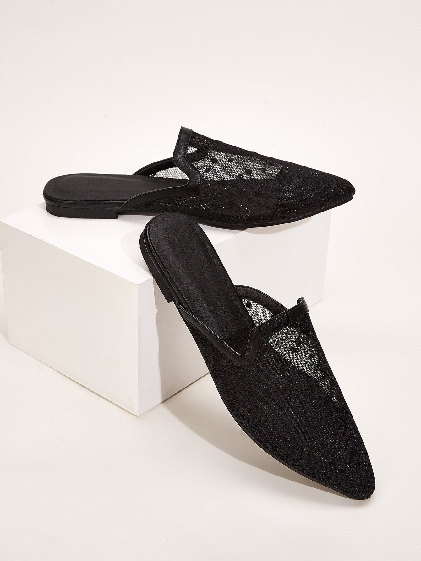 Point Toe Mesh Panel Flat Mules Check Out This Point Toe