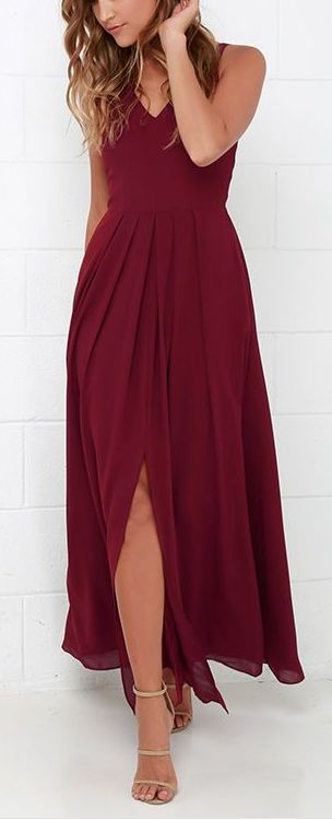 Show Of Decorum Wine Red Maxi Dress Glorevees Wedding Pinterest