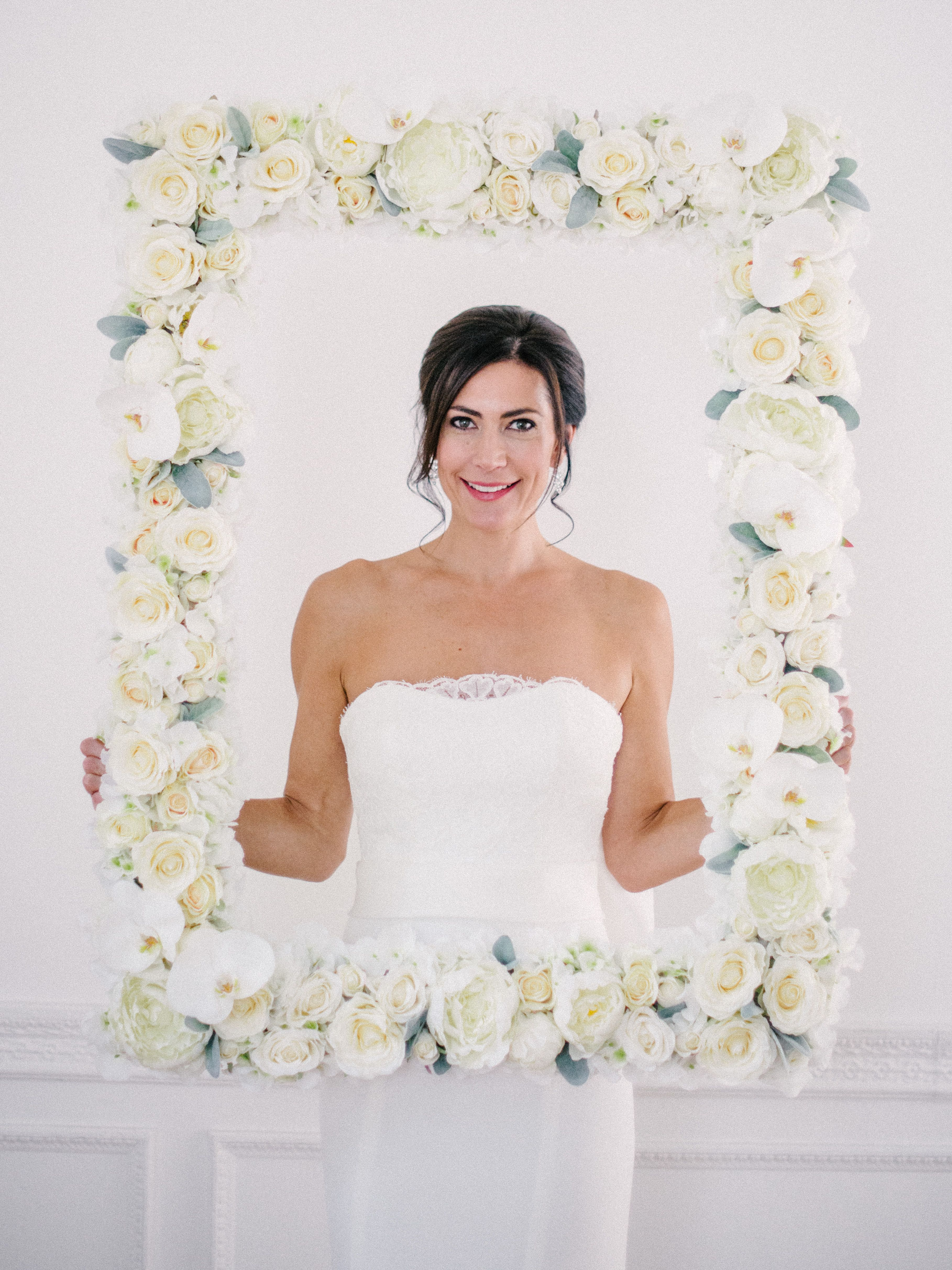 Ivory And White Silk Flower Rose And Peony Flower Frame For Hire