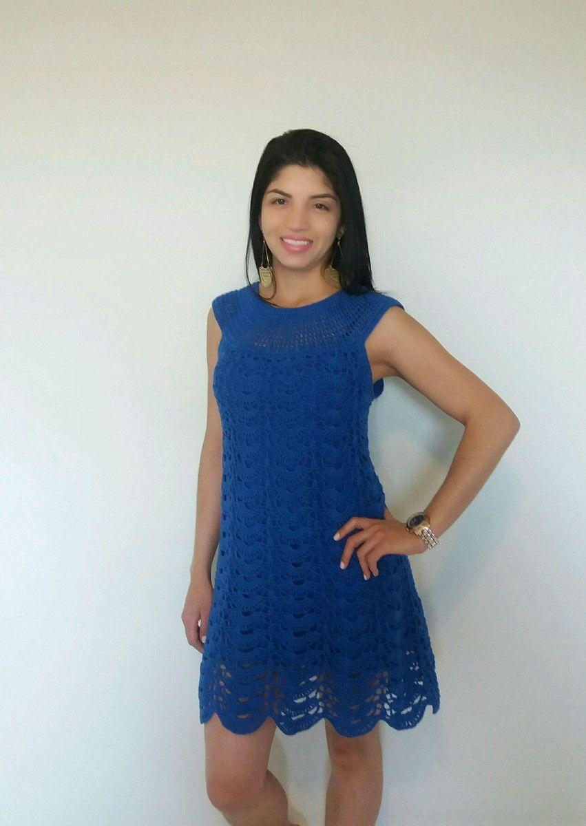 61d41eefbf Vestido de crochê azul bic no Elo7