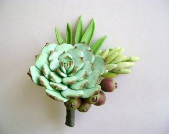 Wedding Succulent Boutonniere Clay Succulent Groom Flower Best Man Boutonniere