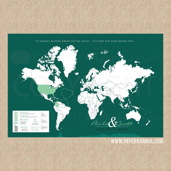 Couples interactive travel map mark the places youve visited world map canvas for pinning your travels custom color personalized ready to hang flag pins included seaglass gumiabroncs