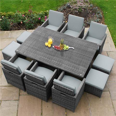 Maze Rattan 6 Seat Deluxe Cube Set With Footstools Luxury Garden Furniture Outdoor Footstool Maze Rattan