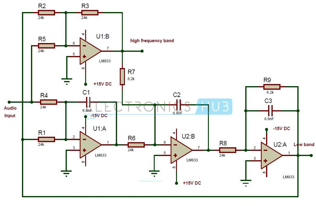Active audio crossover circuit pinterest circuit diagram active crossover circuit diagram circuit components lm833dual high speed audio operational amplifier 2 24k resistors 14 watt 7 62k resistors cheapraybanclubmaster Gallery