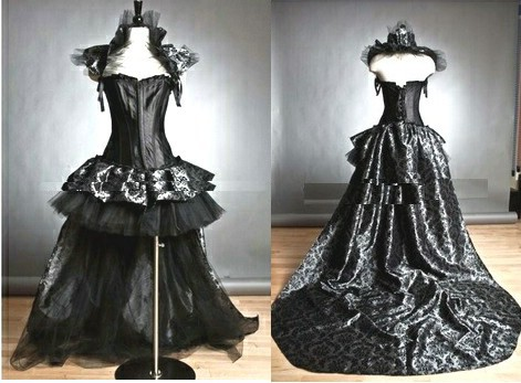 black gothic corset burlesque high low prom party wedding