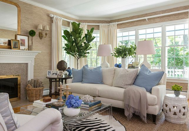 The Grasscloth Wallpaper in this living room is the