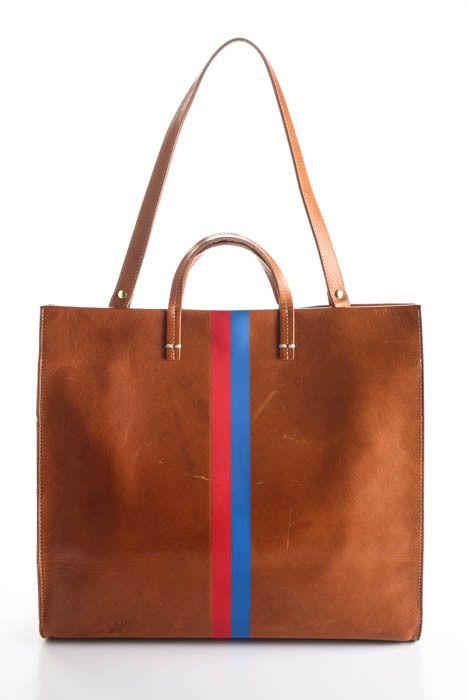 Clare V Brown Leather Royal Stripe Simple Tote Handbag 90067680