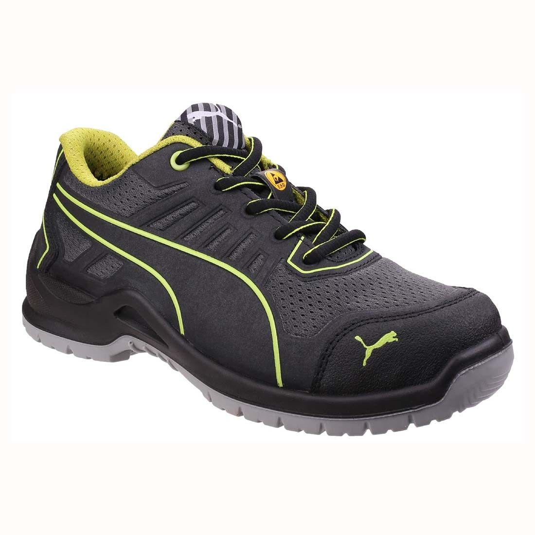 65617d98657 Puma Ladies Fuse TC Low Black and Green S1P ESD Work Safety Trainers ...