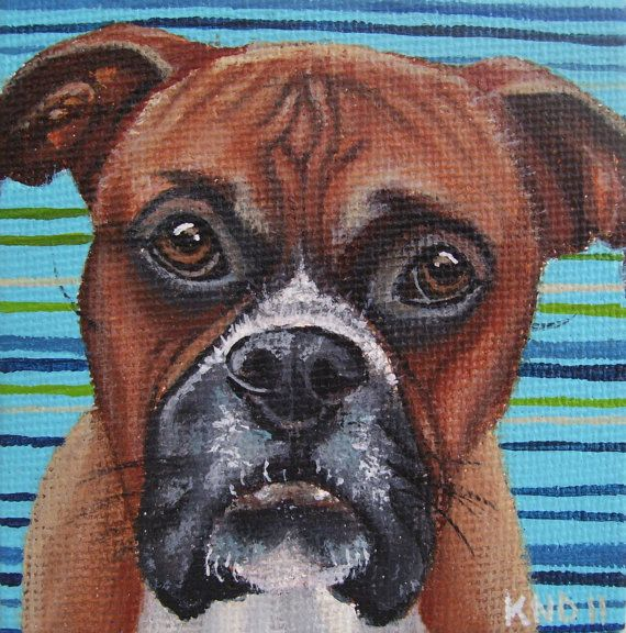 Boxer Miniature Painting with Easel by aBrushWithLove