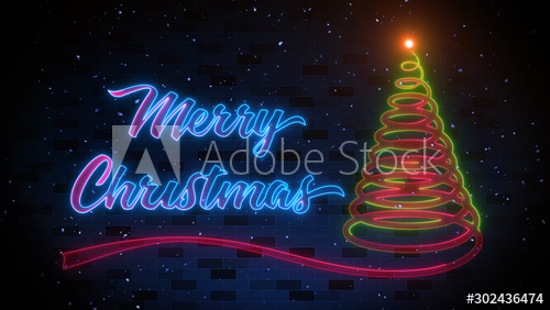 Merry Christmas And Spiral Christmas Tree Neon Light In The Falling Snow With Dark Blue Brick Wall Spiral Christmas Tree Wall Background Brick Wall Background