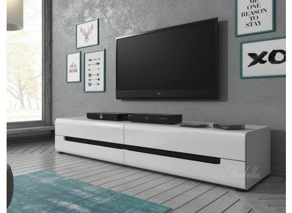 TV-Meubel Homer- Wit - Zwart - 180 cm
