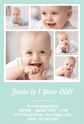 1st Birthday Photo Collage Printable Invitation Template Customize Add Text And Photos Print Or For Free
