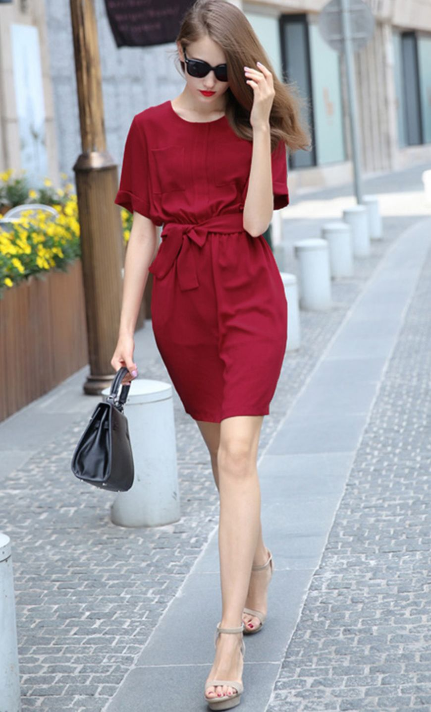 Red short sleeve tiewaist casual dress red shorts latest street