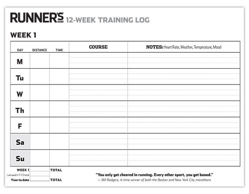 12 Week Training Log For Runners Running Journal Printable Running Journal Excel Calendar Template