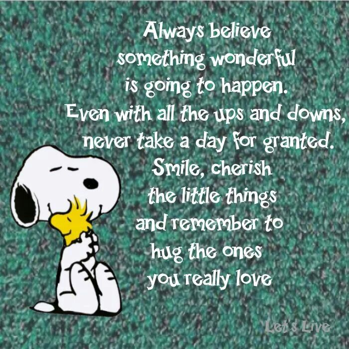 Cherish The Little Things Snoopy Quotes Positive Quotes