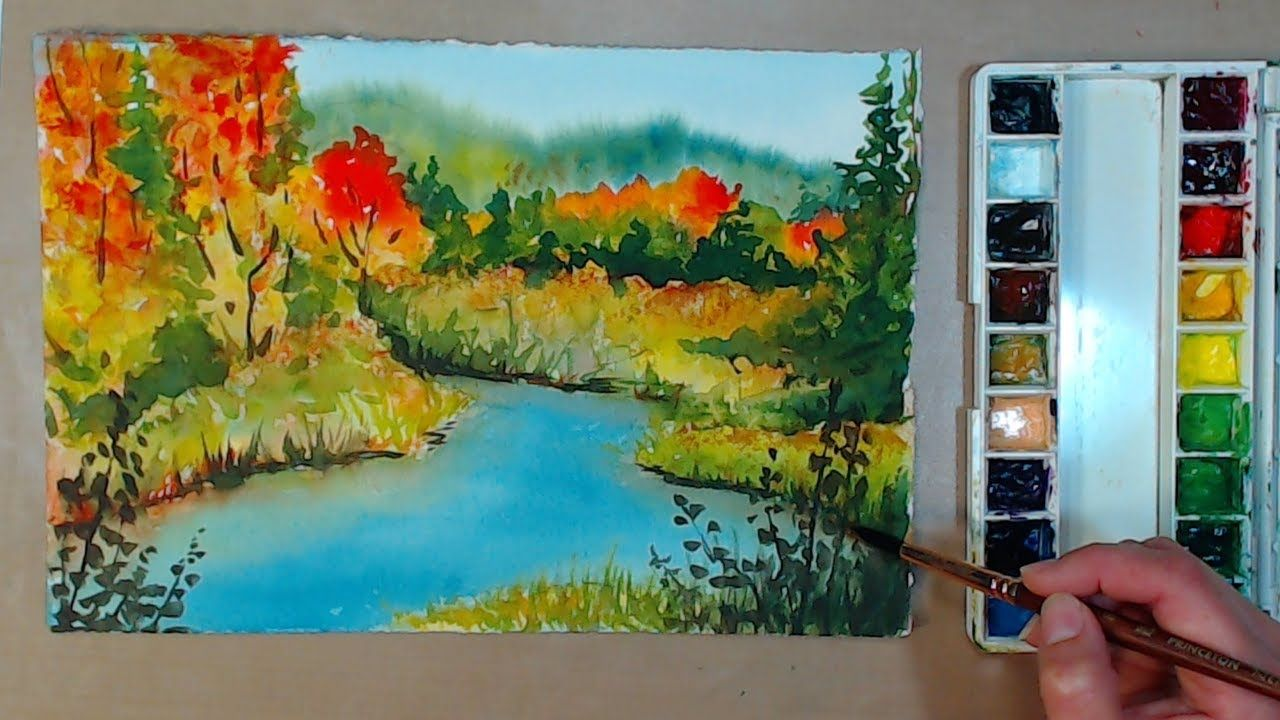 4 Color Fall Landscape In Watercolor Beginner Friendly Watercolor Beginner Diy Watercolor Watercolour Tutorials