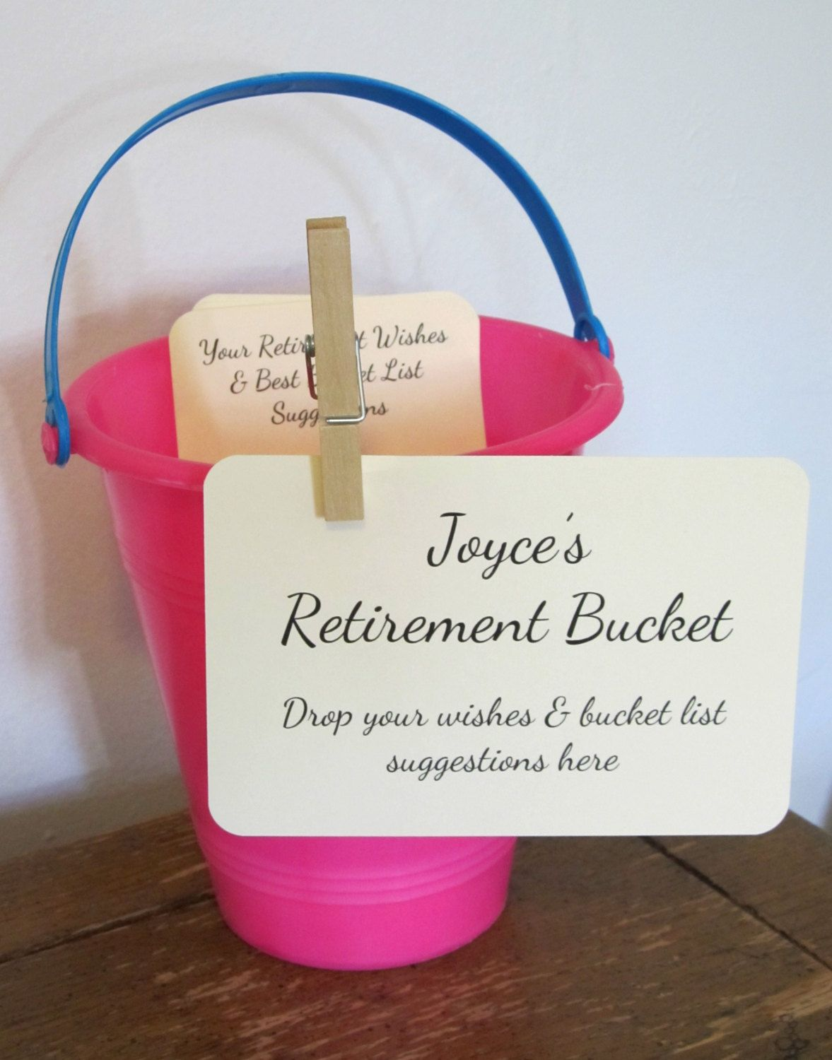 retirement bucket instruction card for by