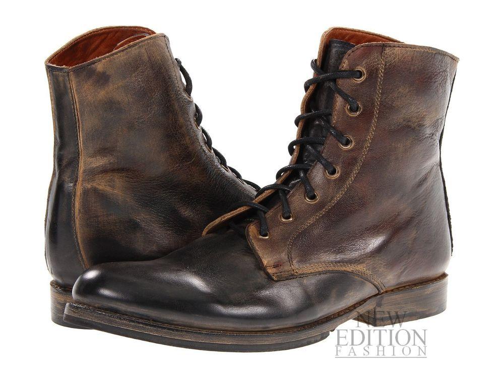 Bed Stu Post Men Leather Military Inspire Winter Combat Boot F467302  Blk/Rustic