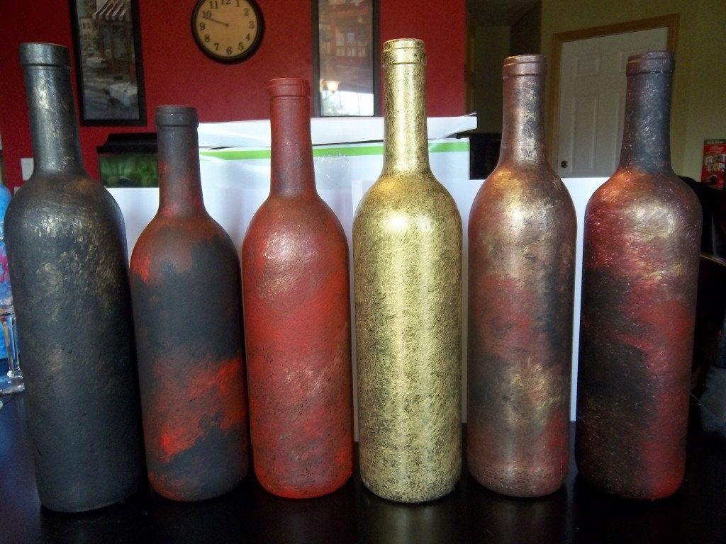 Wine Bottle Centerpieces Faux Painted Wine Bottles Vases Centerpieces By Ipaintstuff Wine Bottle Vases Bottle Vase Centerpiece Wine Bottle Centerpieces