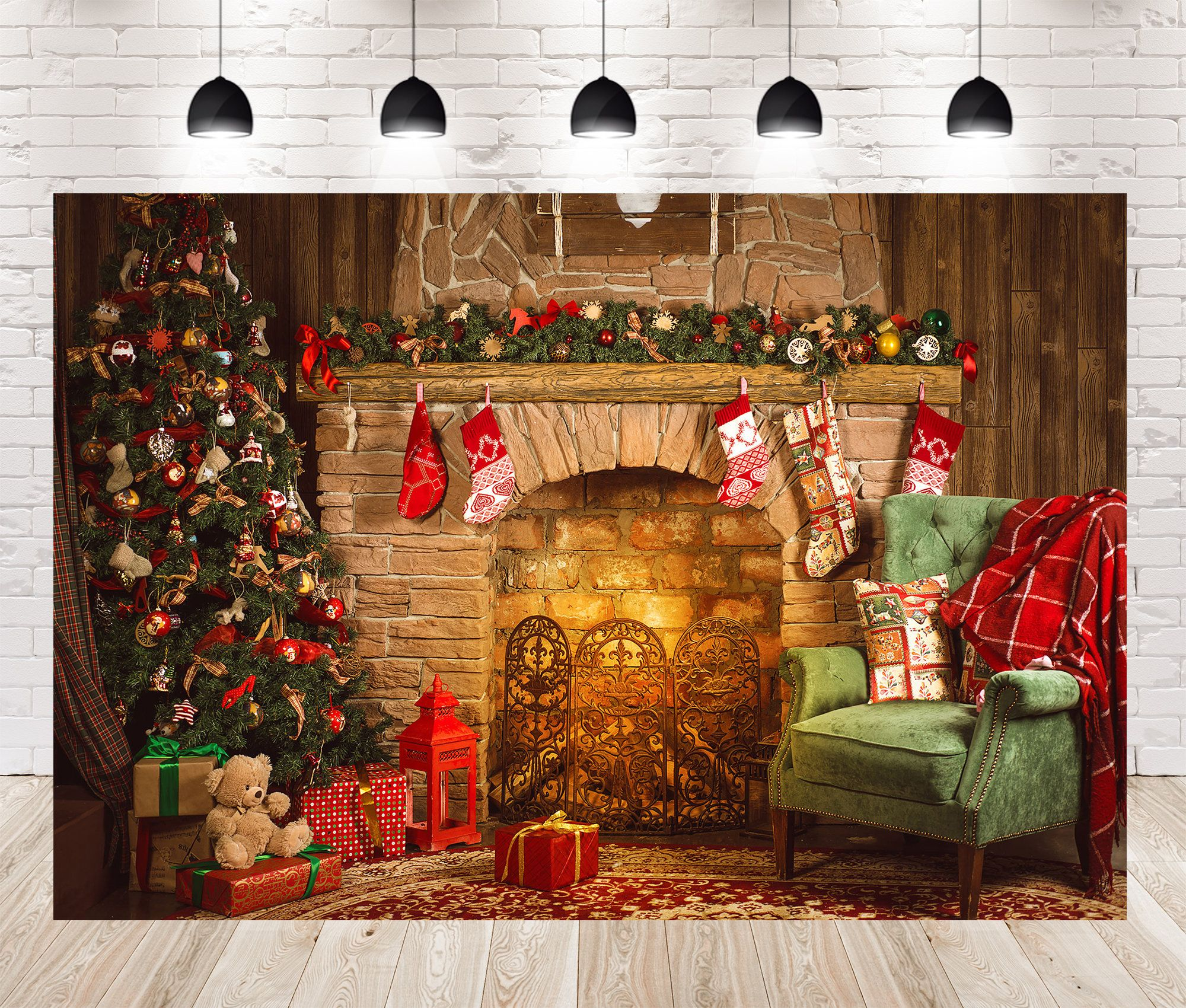 Christmas Tree Fireplace Socks Gift Box Photo Backdrops Booth Etsy In 2020 Christmas Tree And Fireplace Farmhouse Christmas Decor Christmas Backdrops