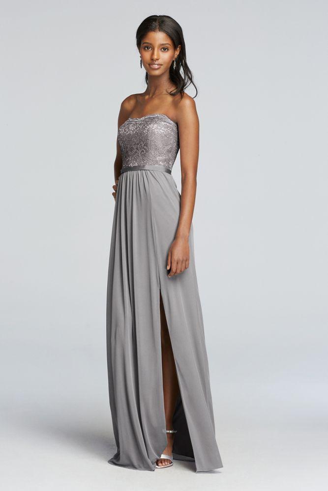 492b6f3cea2e2 Extra Length Metallic Mesh and Lace Bridesmaid Dress - Silver Metallic, 0