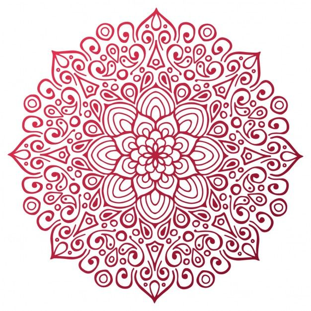 Red Mandala Outline Free Vector Coloring Pages Mandala Coloring