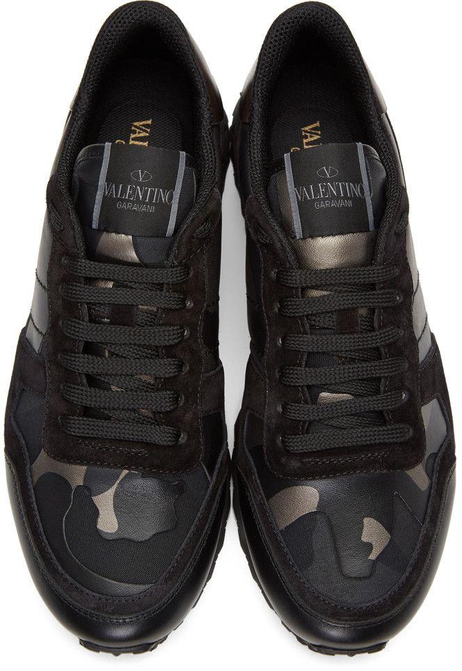 c8025074bd0d Valentino - Black Camo Rockrunner Sneakers   Sneaker   Pinterest