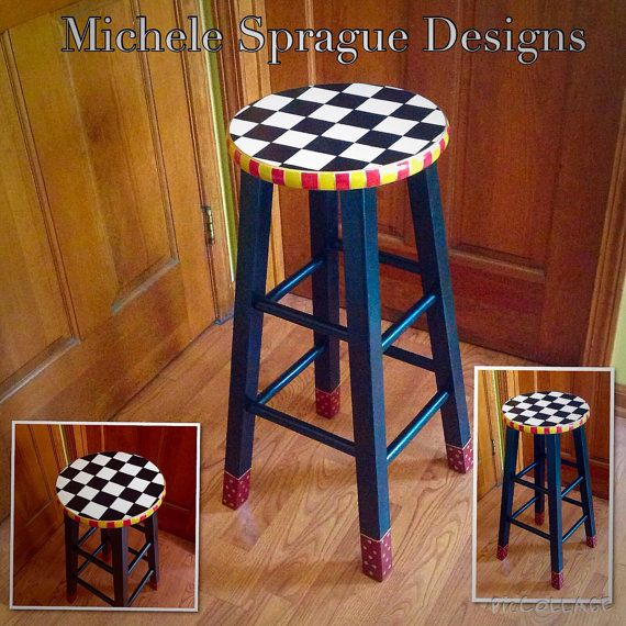 Whimsical Painted Furniture Painted Bar Stool 24 Or 29 Hand Painted Custom Round Top Wooden Bar Stool Counter Stool Chair Painted Bar Stools Whimsical Painted Furniture Painted Furniture