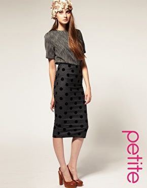 ASOS PETITE Flock Spot Pencil Skirt | Polka Dot Obsession ...