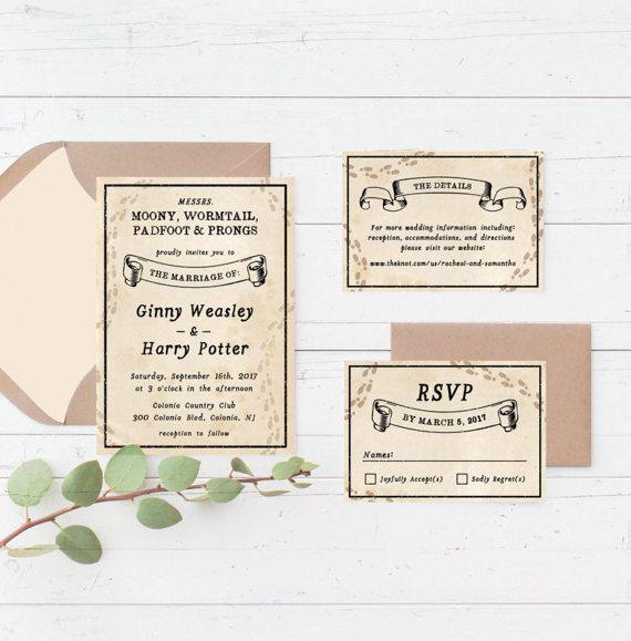 Harry Potter Marauders Map Printable Wedding Invitation Suite, Custom  Printable Wedding Invite Set