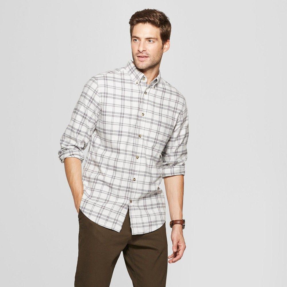 c1a9dd263bb1 Men s Plaid Standard Fit Pocket Flannel Long Sleeve Collared Button-Down  Shirt - Goodfellow   Co Agate Gray 2XL
