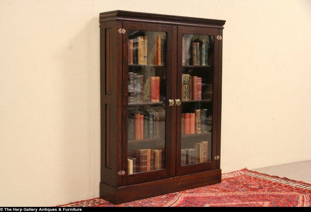 Oak 1900 Antique Bookcase Or Display Cabinet Wavy Glass Doors