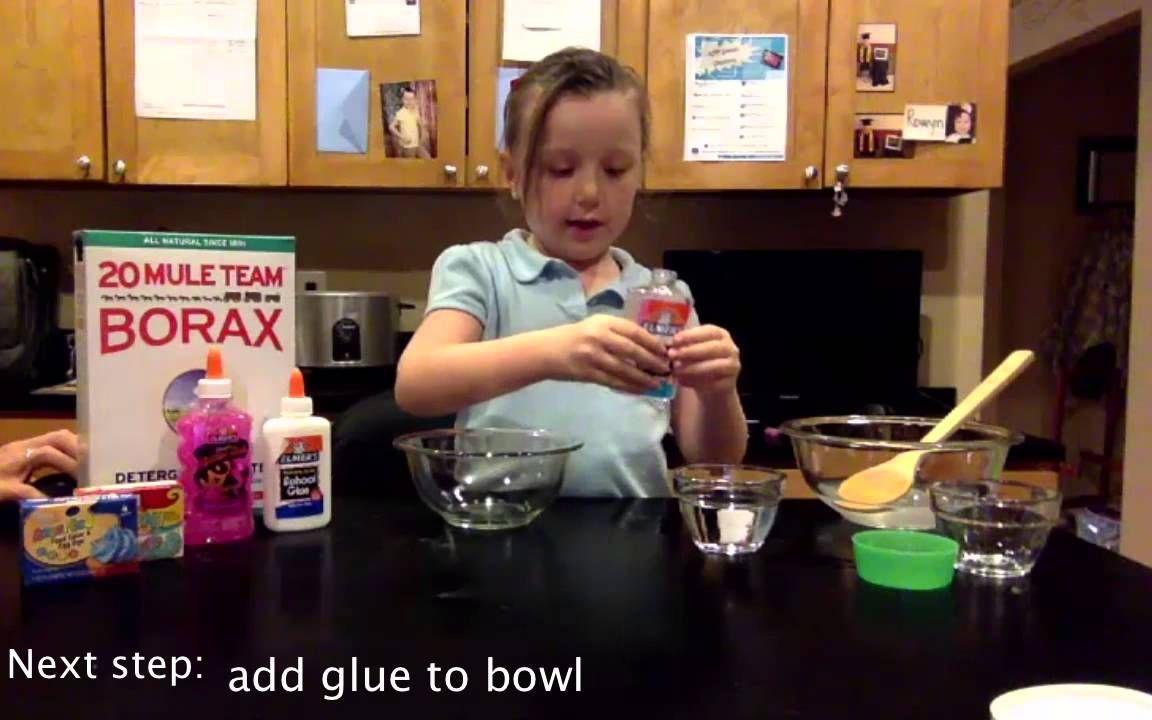 Simple way to make SLIME.  Borax, Glue, Food Color, Water.