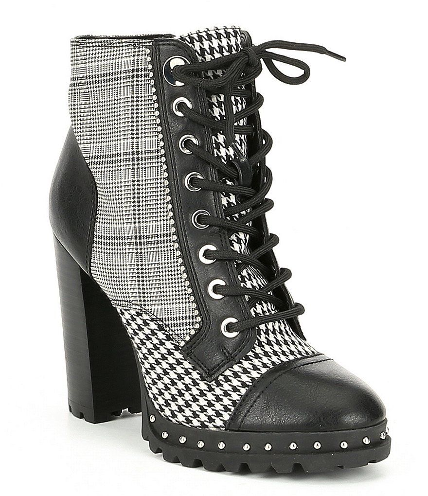 9d963e3ac98 ALDO Marille Menswear Inspired Plaid Houndstooth Block Heel Lace Up Booties