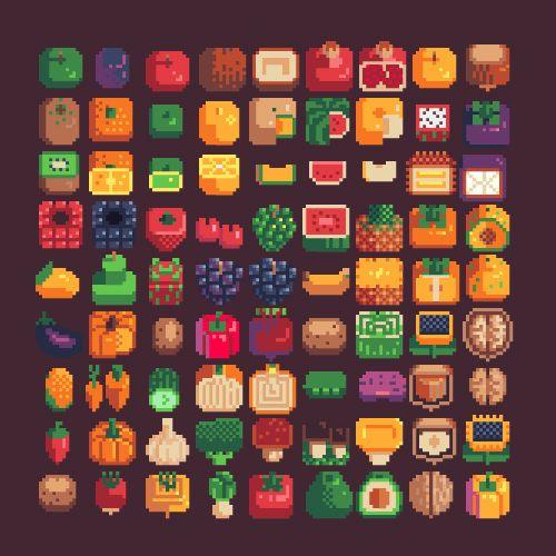 Fruits and vegetables. #pixelart #pixelarticons #pixels #fruits #vegetables #sprites #8bit #isometric #icons #set #inventory #design #minimalistic #16x16