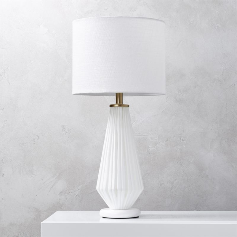 Shop Alki White Glass Table Lamp White Glass Lamp Adds Texture With A Light Touch Top With White Linen Drum Glass Table Lamp Lamps Living Room Table Lamp