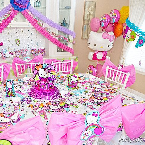 Diy Chair Bows Pretty Place Settings Balloons More Grab Hello Kitty Party Supplies For A