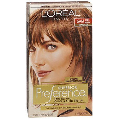 L Oreal Paris Superior Preference Fade Defying Color Shine Hair Color 6am Light Amber Brown 1 Kit Light Hair Color Loreal Hair Color