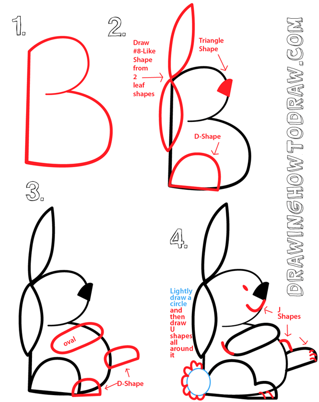 big guide to drawing cartoon bunny rabbits with basic shapes for kids preschoolers kids. Black Bedroom Furniture Sets. Home Design Ideas