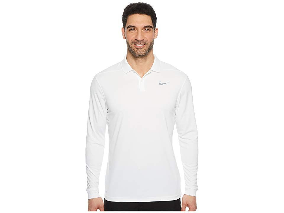 d0499e9c6 Nike Golf Dry Victory Polo Long Sleeve (White/Black) Men's Clothing. Achieve