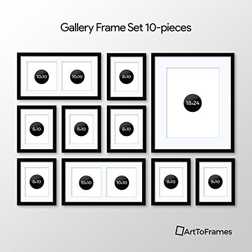 Arttoframes Picture Frame 10 Piece Wall Set 7 10x8 1 24x18 2 10x10 Inch Black Frames White Display Mats Check Out This Gr Frame Picture Frames Poster Prints