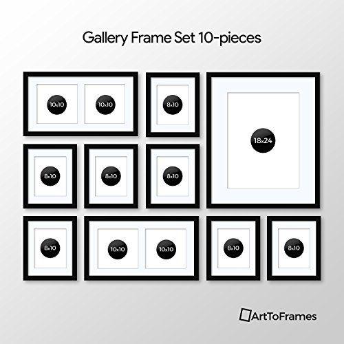 Arttoframes Picture Frame 10 Piece Wall Set 7 10x8 1 24x18 2 10x10