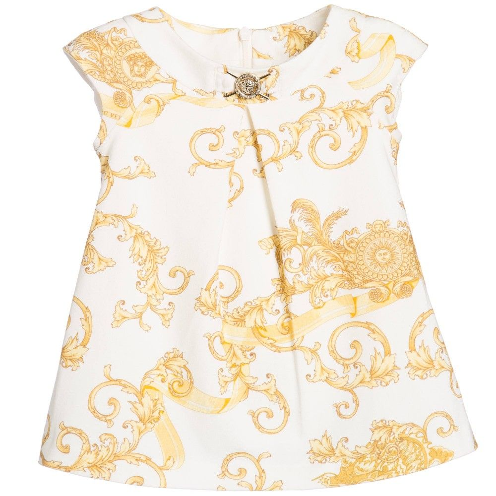 ff4096d26570 Baby Girls White Dress with Gold Dragon Print