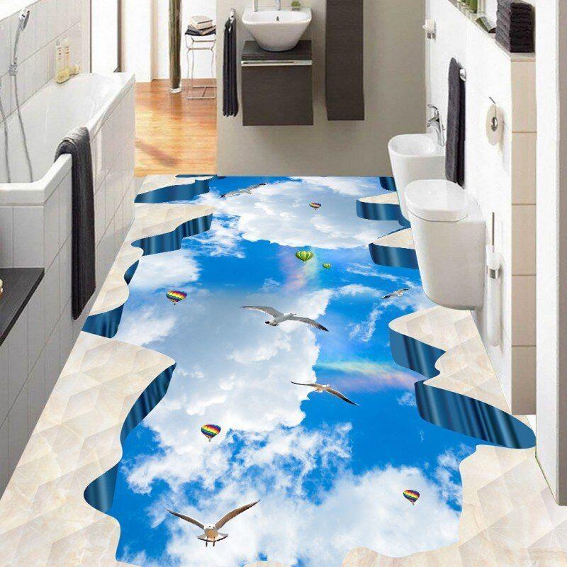 Nicht Verpassen Kostenloser Versand Blauer Himmel Weiss Badezimmer Schlafzimmer Gehweg 3d Boden Painti In 2020 White Bathroom Floor Wallpaper 3d Floor Painting