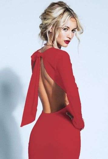 Lurelly's Red Backless Bow Dress