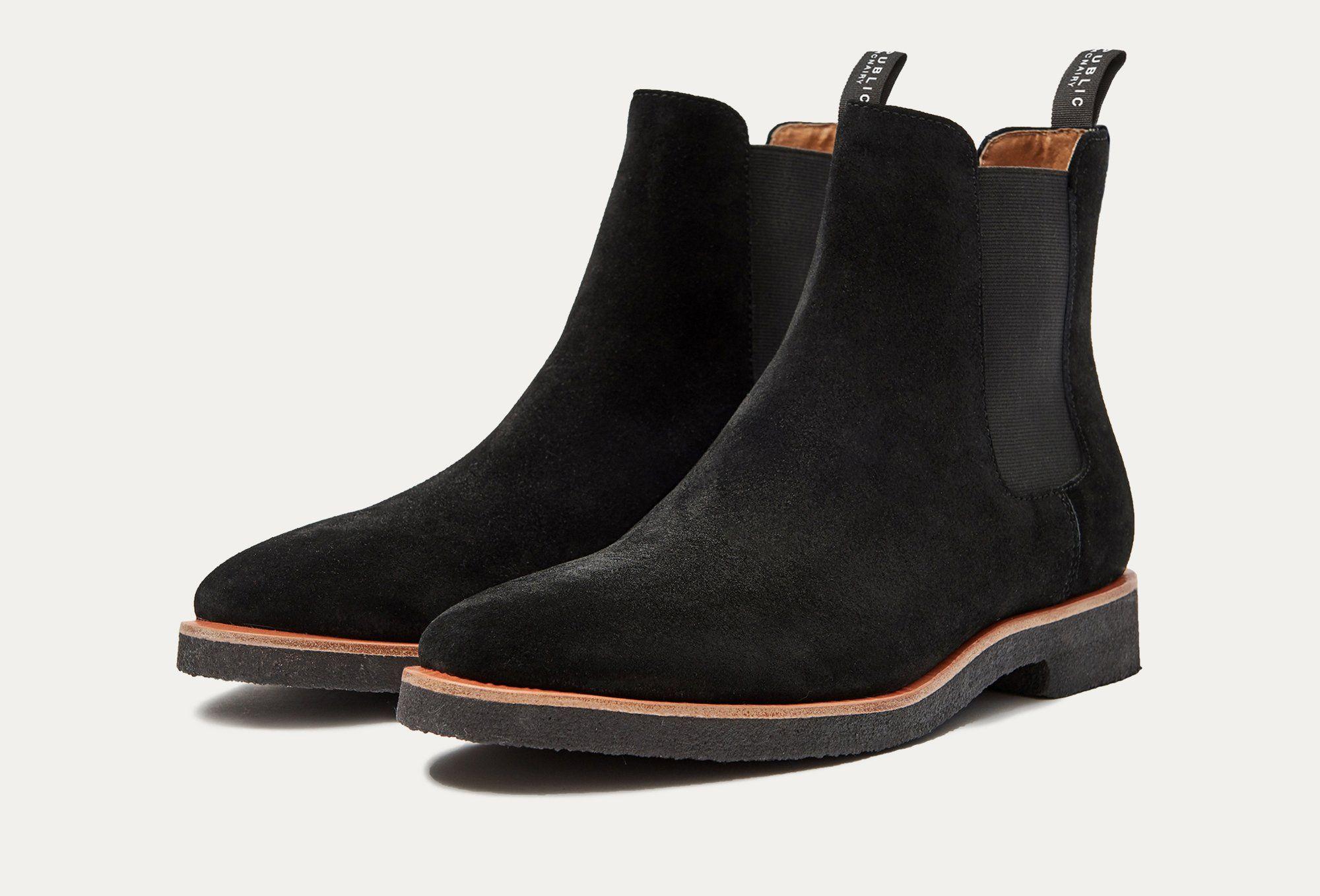 Harvey Suede Chelsea Boot in Black by